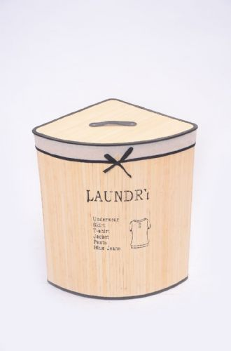 CREAM LAUNDRY BAMBOO WASHING CLOTHES BASKET WITH LID FOLD AWAY STORAGE BIN - CORNER